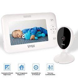 Video Baby Monitor, 4.3″ Baby Monitor with Camera, Infrared Night Vision, Temperature Sens ...