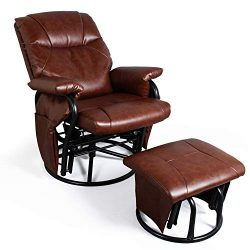 Recliner Chair with Ottoman Living Room Chairs Faux Leather Glider Chair 360 Degree Rotation Lei ...