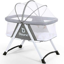 Dourxi 2-in-1 Stationary&Rocking Bassinet, Portable Bedside Crib with Breathable Mesh Side,  ...