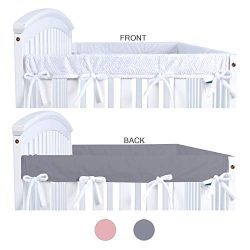 Crib Rail Cover Protector for Narrow Side Crib Rails 2 Pack, Gray/White, Protecting Your Crib Ra ...