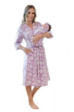 Matching Maternity/Delivery Robe with Baby Swaddle Set, Mom and Baby (Helen, S/M pre Pregnancy 2-10)