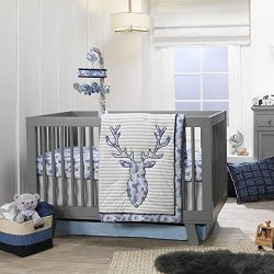 Lambs & Ivy Blue Camo Gray Moose 4-Piece Baby Crib Bedding Set – Camouflage