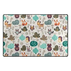 Vantaso Nursery Area Rugs Soft Foam Funny Cartoon Forest Animals Bear Deer Fox Hedgehog 60× ...