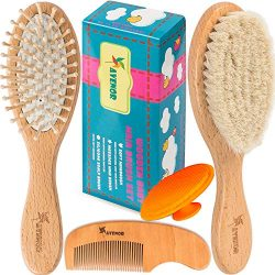Baby Hair Brush Comb Set – Natural Wooden Hairbrush with Soft Goat Bristles for Cradle Cap ...