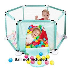 Kids 6-Panel Playard Pop Play Playpen Portable Washable Aqua Play Center Fence with Carry Case B ...