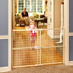 North States 50″ Wide Quick-Fit Wire Mesh Baby Gate: Hassle-free rachet system for quick c ...