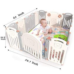 Kidsclub Baby 16 Panel Playpen Activity Centre Safety Play Yard Foldable Portable HDPE Indoor Ou ...