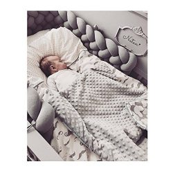 Infant Soft Pad Braided Crib Bumper Knot Pillow Cushion Cradle Decor for Baby Girl and Boy (Grey ...