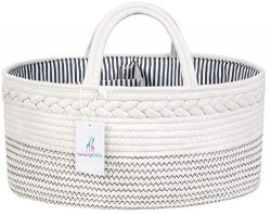 Luxury Little Baby Diaper Caddy Organizer – Rope Nursery Storage Bin for Boys and Girls &# ...