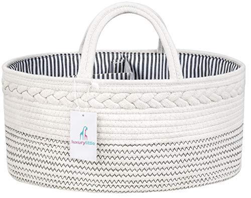 Luxury Little Baby Diaper Caddy Organizer – Rope Nursery Storage Bin for Boys and Girls &# ...