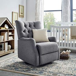 Classic Brands Cynthia Popstitch Upholstered Glider Swivel Rocker Chair, Grey