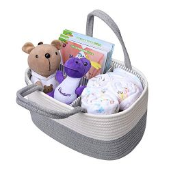 Baby Diaper Caddy Organizer Nursery Storage Bin with Removable Divider, Cotton Rope Infant Diape ...