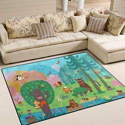 ALAZA Wild Animals Forest Fox Bear Bee Indoor Modern Area Rug 4′ x 5′, Dining Room H ...