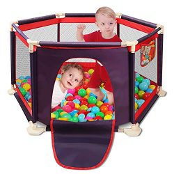Portable Safety Kids Playpen Lightweight Assembled House 6-Panel Mesh Play Yard with Sturdy Base ...