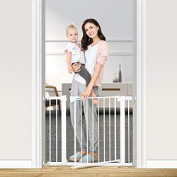 Nicpay 40.6″ Auto Close Safety Baby Gate, Easy Walk Thru Durability Child Gate for Stairs, ...