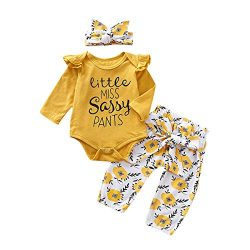 PigMaMa 3 Pcs Infant Baby Girl Clothes Yellow Long Sleeve Romper Flower Pant Headband Toddler Ou ...