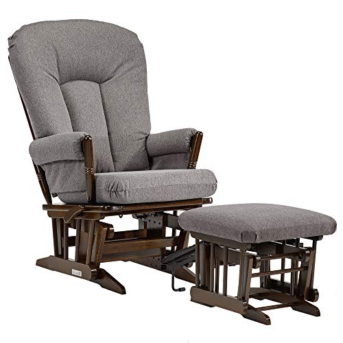 Dutailier C26-82B-62-3128 Colonial Glider-Multi-Position Recline and Nursing Ottoman Combo, Dark ...