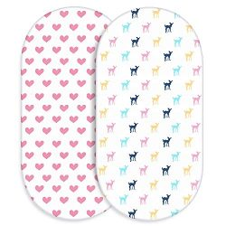 Universal Bassinet Sheets for Girls, Momcozy 100% Breathable Cotton Sheet Set 2 Pack, Fit for Mo ...