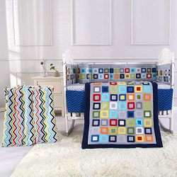 Wowelife Baby Crib Bedding Sets for Boys Blue 8 Piece Square Geometry Nursery Bedding Set for Ba ...