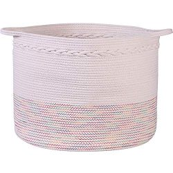 Ollvia Large Cotton Rope Storage Basket,Woven Cotton Laundry Basket with Handles, for Baby Nurse ...