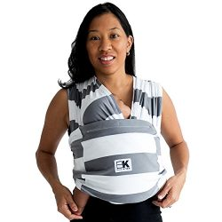 Baby K'tan Print Baby Wrap Carrier, Infant and Child Sling-Charcoal Stripe 2X-Small (W dre ...