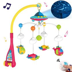 Baby Musical Crib Mobile with Light and 108 Melodies Music Box,Star Projector Function, Remote C ...