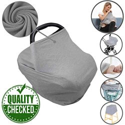 Car Seat Nursing Breastfeeding Cover, Thick Cozy Jersey Carseat Canopy Cover, Stroller Cover for ...