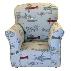 Brighton Home Furniture Airplane Print Toddler Rocker – Cotton Rocking Chair