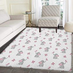 Elephant Nursery Rugs for Bedroom Baby Elephants Playing with Butterflies Design Circle Rugs for ...