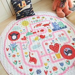 LISIBOOO Cartoon Kids Play Rugs,Toys Storage Organizer Cotton Large Floor Mat,for Baby Girl Boy  ...