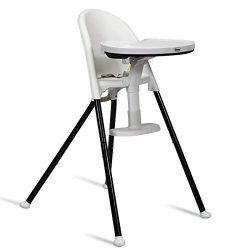INFANS High Chair Folding, 3 in 1 Convertible Highchair with Detachable Double Tray, 3-Point Har ...