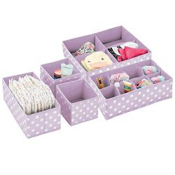 mDesign Soft Fabric Dresser Drawer and Closet Storage Organizer Set for Child/Baby Room or Nurse ...