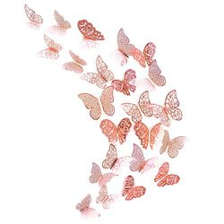 pinkblume Rose Gold Butterfly Decorations 3D Wall Decals Metallic Art Sticker DIY Man Made Remov ...