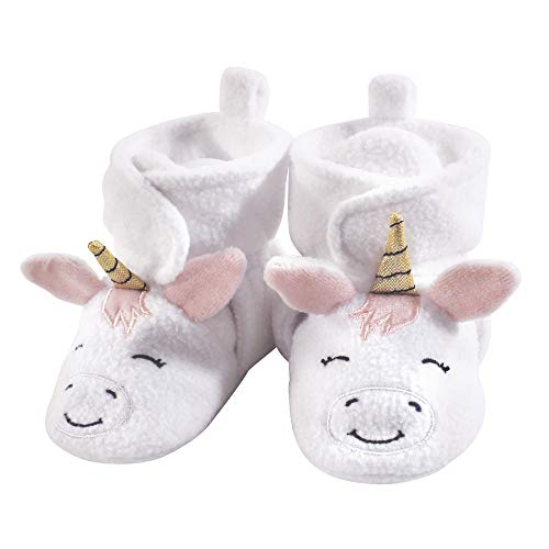 Hudson Baby Baby Cozy Fleece Booties with Non Skid Bottom, White Unicorn, 6-12 Months
