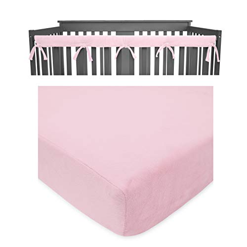 American Baby Company Heavenly Soft Crib Cover Plus Crib Sheet for Long Rail, Pink/White