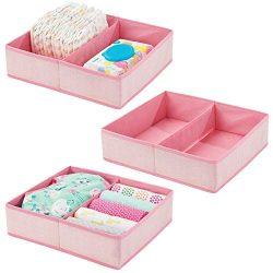 mDesign Soft Fabric Dresser Drawer and Closet Storage Organizer Bin for Child/Kids Room, Nursery ...