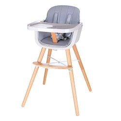 Foho Baby High Chair, Perfect 3 in 1 Convertible Wooden High Chair with Cushion, Removable Tray, ...