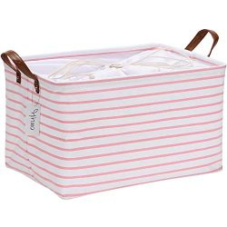 Hinwo 31L Large Capacity Storage Basket Canvas Fabric Storage Bin Collapsible Storage Box with P ...