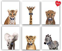 Designs by Maria Inc. Safari Bow Ties Baby Animals Nursery Decor Art – Set of 6 (Unframed) ...
