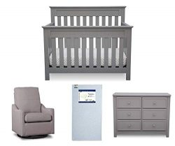 Delta Children Chalet 4-Piece Mix & Match Nursery Furniture Set (Convertible Crib, Dresser,  ...