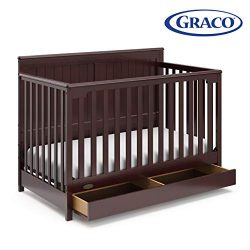 Graco Hadley 4-in-1 Convertible Crib with Drawer, Espresso, Easily Converts to Toddler Bed Day B ...