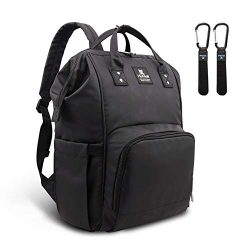 Diaper Bag Hafmall Waterproof Multifunction Baby Travel Backpack for Mom and Dad (Black 2)