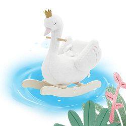 Wooden Rocking Horse, White Swan Princess/King Rocker Toy for Kids 1-3 Years
