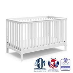 Storkcraft Hillcrest Fixed Side Convertible Crib, White, Easily Converts to Toddler Bed Day Bed  ...