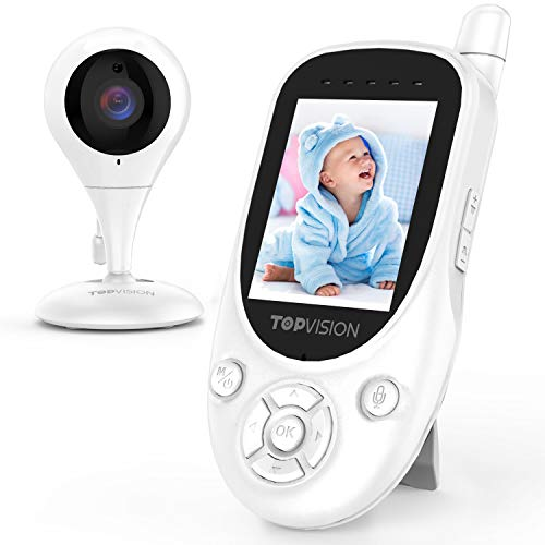 TOPVISION Baby Monitor, 2.4GHz Wireless Video Monitor with Night Vision, Two-Way Audio, Temperat ...