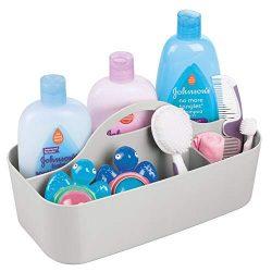 mDesign Plastic Portable Nursery Storage Organizer Caddy Tote – Divided Basket Bin with Ha ...