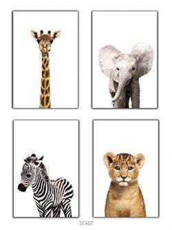 Designs by Maria Inc. Safari Baby Animals Nursery Decor Art – Set of 4 UNFRAMED Wall Print ...