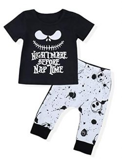 Toddler Baby Boy Clothes 2Pcs Newborn Outfit Set Letter Printing Skull T-Shirt and Pants Clothin ...