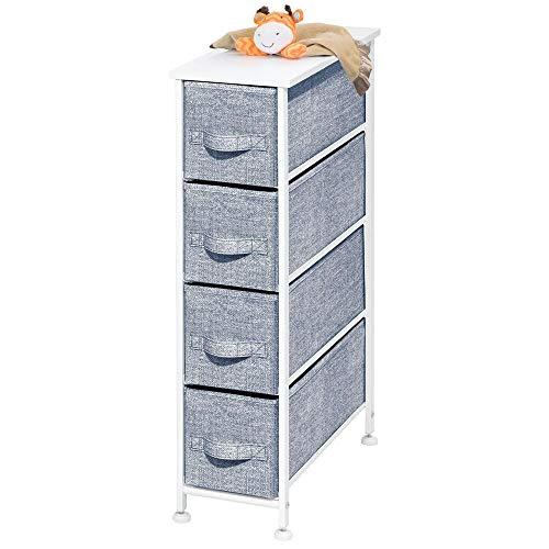 mDesign Narrow Vertical Dresser Drawers – Sturdy Steel Frame, Wood Top, 4 Easy Pull Fabric ...