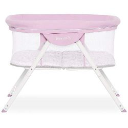 Dream On Me Poppy Traveler Portable Bassinet in Purple and Pink